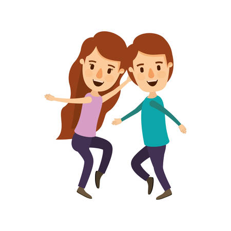 long nose: colorful image caricature full body couple dancing vector illustration Illustration