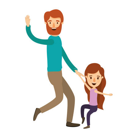 Colorful image caricature bearded father with girl dancing vector illustration Illustration