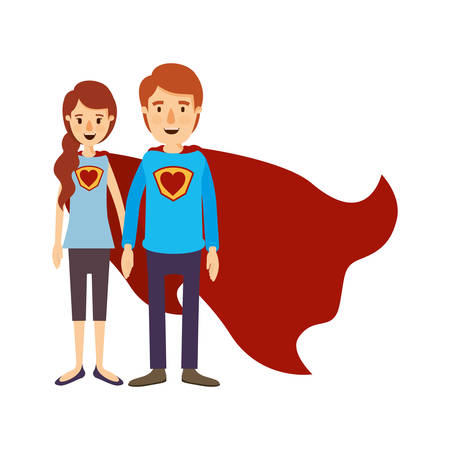 colorful image caricature full body couple youngs super hero with uniform and cap vector illustration