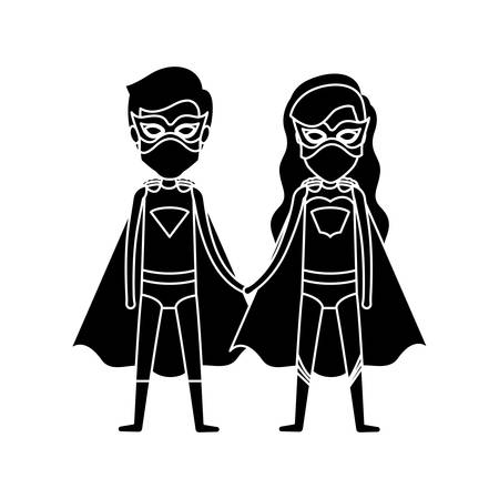 silhouette black front view superhero couple with costumes taken hands vector illustration