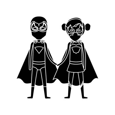 silhouette black front view superhero guy and girl with costumes taken hands vector illustration