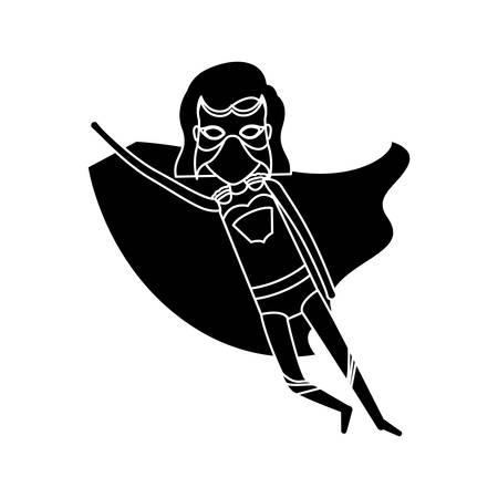 silhouette black front view superheroin woman to the rescue vector illustration Illustration