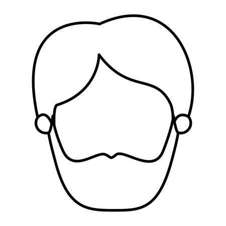 silhouette image caricature front view faceless man with beard and moustache vector illustration