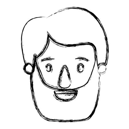 brow: blurred silhouette caricature front view bearded man with moustache and hairstyle vector illustration