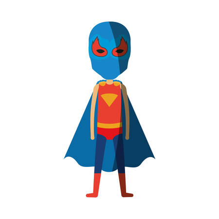 man flying: colorful silhouette with standing faceless boy superhero and shading vector illustration