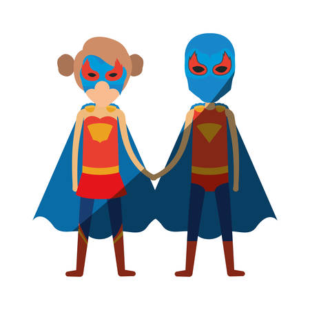 comic duo: colorful silhouette with faceless duo of superheroes united of the hands and her with collected hair with shading vector illustration