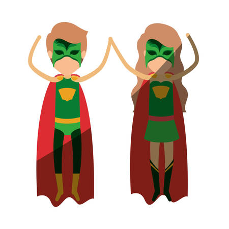 colorful silhouette with faceless couple of superheroes flying vertically and shading vector illustration