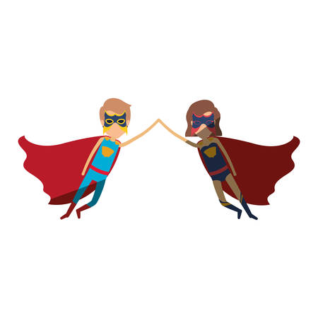 colorful silhouette with faceless couple of superheroes flying united of the hands and her with short hair and shading vector illustration