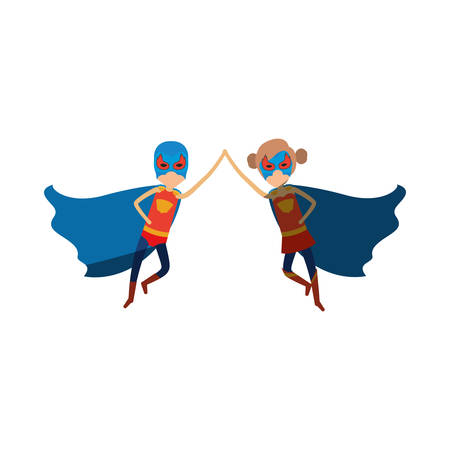 comic duo: colorful silhouette with faceless duo of superheroes flying united of the hands and her with collected hair and shading vector illustration