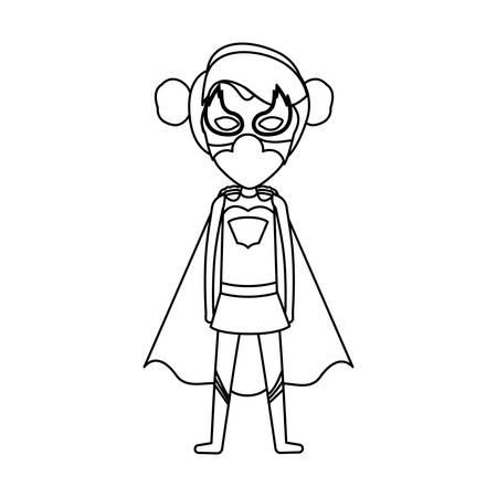contorno monocromo sin rostro de superhéroe chica permanente con ilustración de vector de pelo recogido