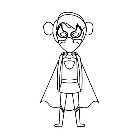 monochrome contour faceless of standing girl superhero with collected hair vector illustration