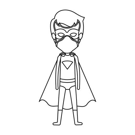 man flying: monochrome contour faceless of standing young superhero vector illustration