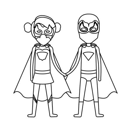 comic duo: monochrome contour faceless of duo of superheroes united of the hands and her with collected hair vector illustration