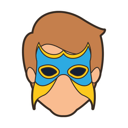 hair mask: colorful silhouette with faceless man superhero with mask and thick contour vector illustration