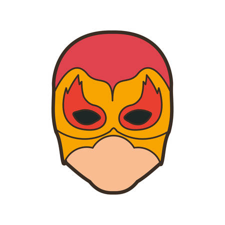 man flying: colorful silhouette with faceless man superhero masked with flame around the eyes and thick contour vector illustration Illustration