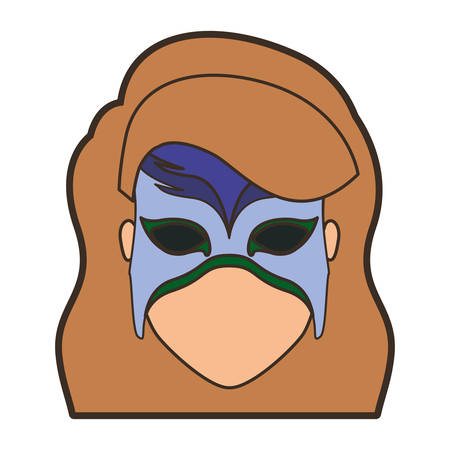 superheroine: colorful silhouette with faceless woman superhero with long wavy hair and mask and thick contour vector illustration