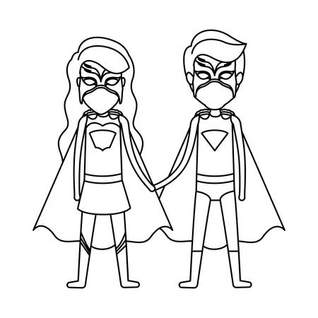 comic duo: monochrome silhouette faceless of duo of superheroes united of the hands and her with long wavy hair vector illustration