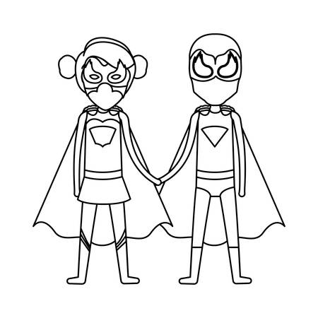 comic duo: monochrome silhouette faceless of duo of superheroes united of the hands and her with collected hair vector illustration