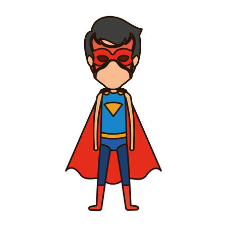 man flying: colorful silhouette with standing faceless young superhero with closed eyes vector illustration