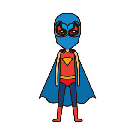 eyes are closed: colorful silhouette with standing faceless boy superhero with closed eyes vector illustration