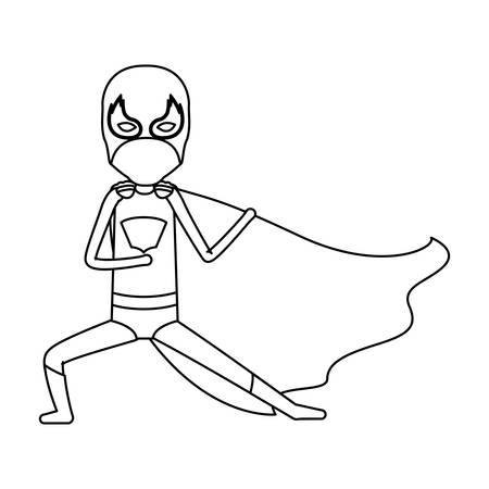 man flying: monochrome silhouette faceless of kid superhero in defensive pose vector illustration Illustration