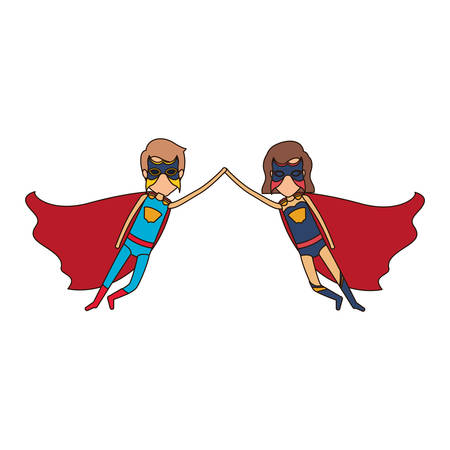 hair mask: colorful silhouette with faceless couple of superheroes flying united of the hands and her with short hair with closed eyes vector illustration