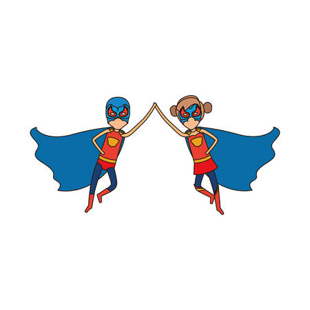comic duo: colorful silhouette with faceless duo of superheroes flying united of the hands and her with collected hair and closed eyes vector illustration