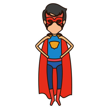 close your eyes: colorful silhouette with faceless superhero young flying with hands in your waist and closed eyes vector illustration