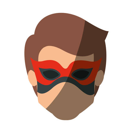 hair mask: colorful silhouette with faceless kid superhero with mask and without contour and shading vector illustration