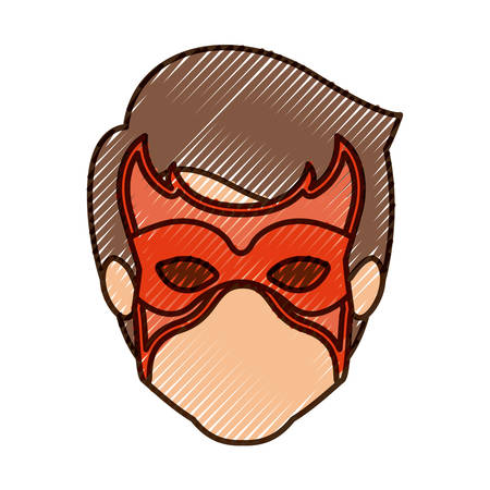 hair mask: colored pencil silhouette of faceless guy superhero with mask and thick contour vector illustration