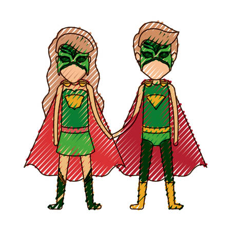 comic duo: colored pencil silhouette with faceless duo of superheroes united of the hands and her with long wavy hair vector illustration
