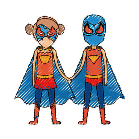 comic duo: colored pencil silhouette with faceless duo of superheroes united of the hands and her with collected hair vector illustration