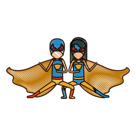 comic duo: colored pencil silhouette with faceless duo of superheroes in defensive pose and her with straight long hair vector illustration