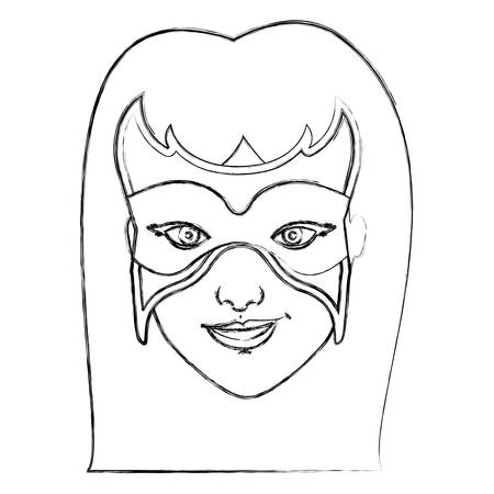 hair mask: monochrome blurred contour of woman superhero with long hair and mask vector illustration