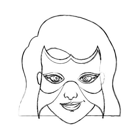 superheroine: monochrome blurred contour of woman superhero with short hair and mask vector illustration