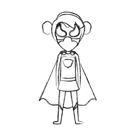 monochrome blurred contour faceless of standing girl superhero with collected hair vector illustration