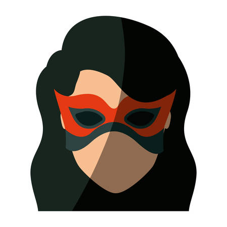 colorful silhouette with faceless girl superhero with long wavy hair with fringe and mask and without contour vector illustration