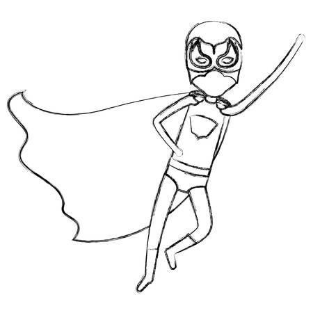 monochrome blurred contour faceless of superhero boy flying in diagonal direction vector illustration