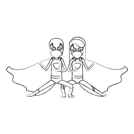 hair mask: monochrome blurred contour faceless of duo of superheroes in defensive pose and her with straight long hair vector illustration