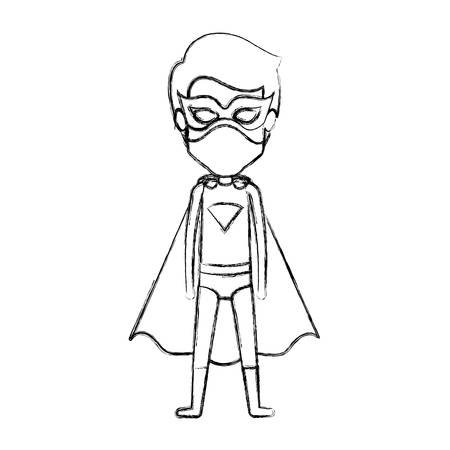guy standing: monochrome blurred contour faceless of standing guy superhero vector illustration