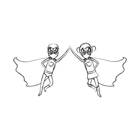 comic duo: monochrome blurred contour faceless of duo of superheroes flying united of the hands and her with collected hair vector illustration Illustration