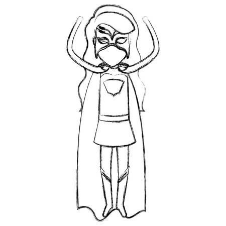 superheroine: monochrome blurred contour faceless of superhero woman flying with the arms up vector illustration
