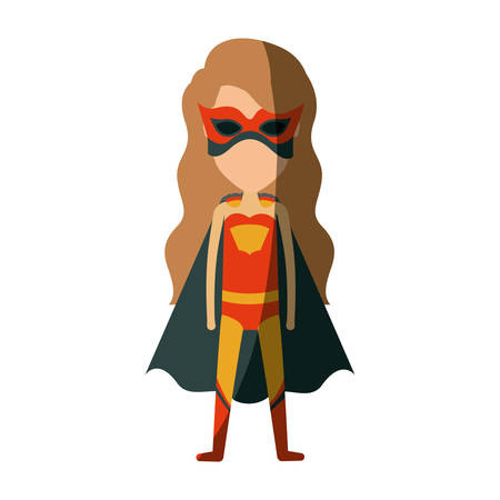 colorful silhouette with faceless standing girl superhero with long wavy hair and without contour vector illustration Illustration
