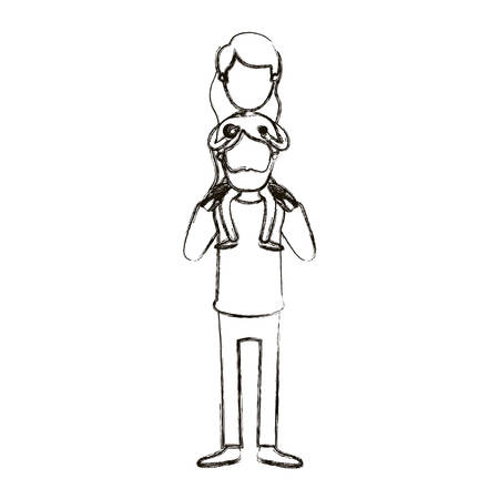 blurred silhouette caricature faceless bearded father with girl on his back vector illustration Illustration