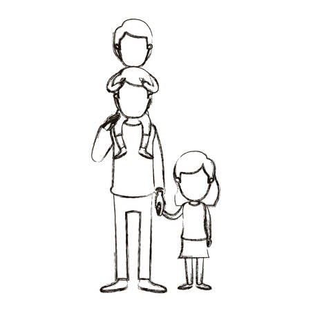 blurred silhouette caricature faceless dad with boy on his back and girl taken hands vector illustration