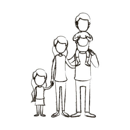 blurred silhouette caricature faceless big family parents with boy on his back and daugther taken hands vector illustration