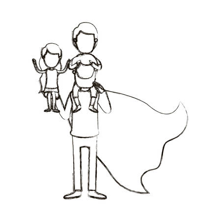 blurred silhouette caricature faceless full body super dad hero with girl on his hand and boy on his back vector illustration