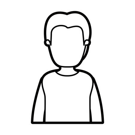 black thick contour caricature faceless half body man with coat vector illustration Illustration