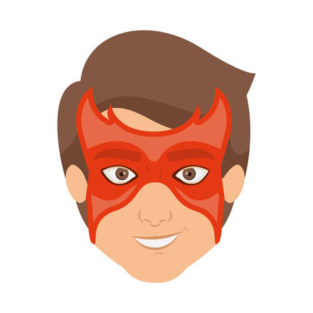 hair mask: colorful silhouette with guy superhero with mask and without contour vector illustration Illustration