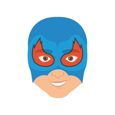 man flying: colorful silhouette with man superhero masked with flame around the eyes and without contour vector illustration Illustration